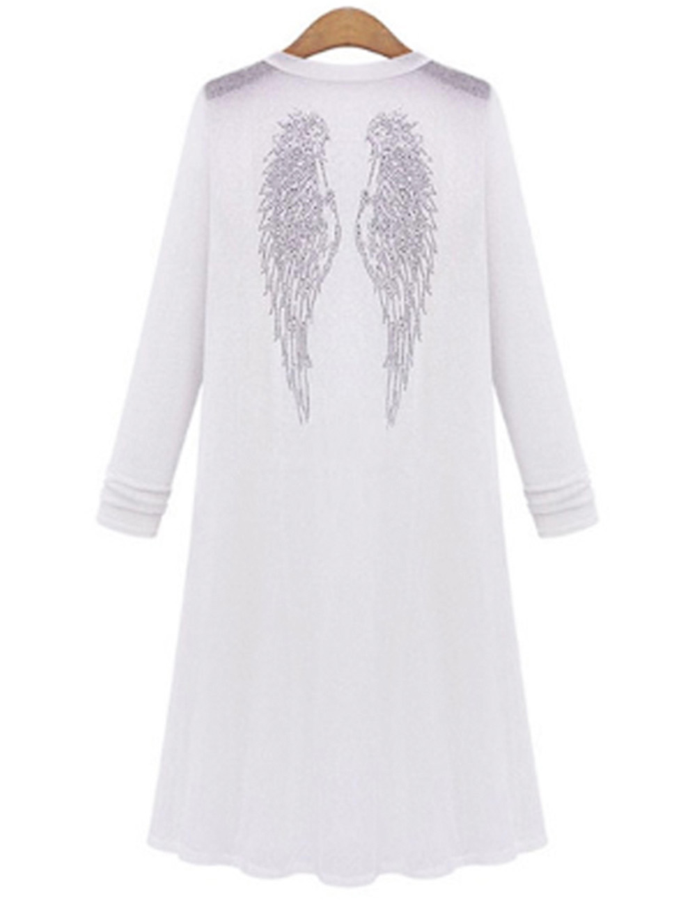 Womens Angel Wings Knitted Rhinestone Long Sleeve Plus Coat Cardigan Out...