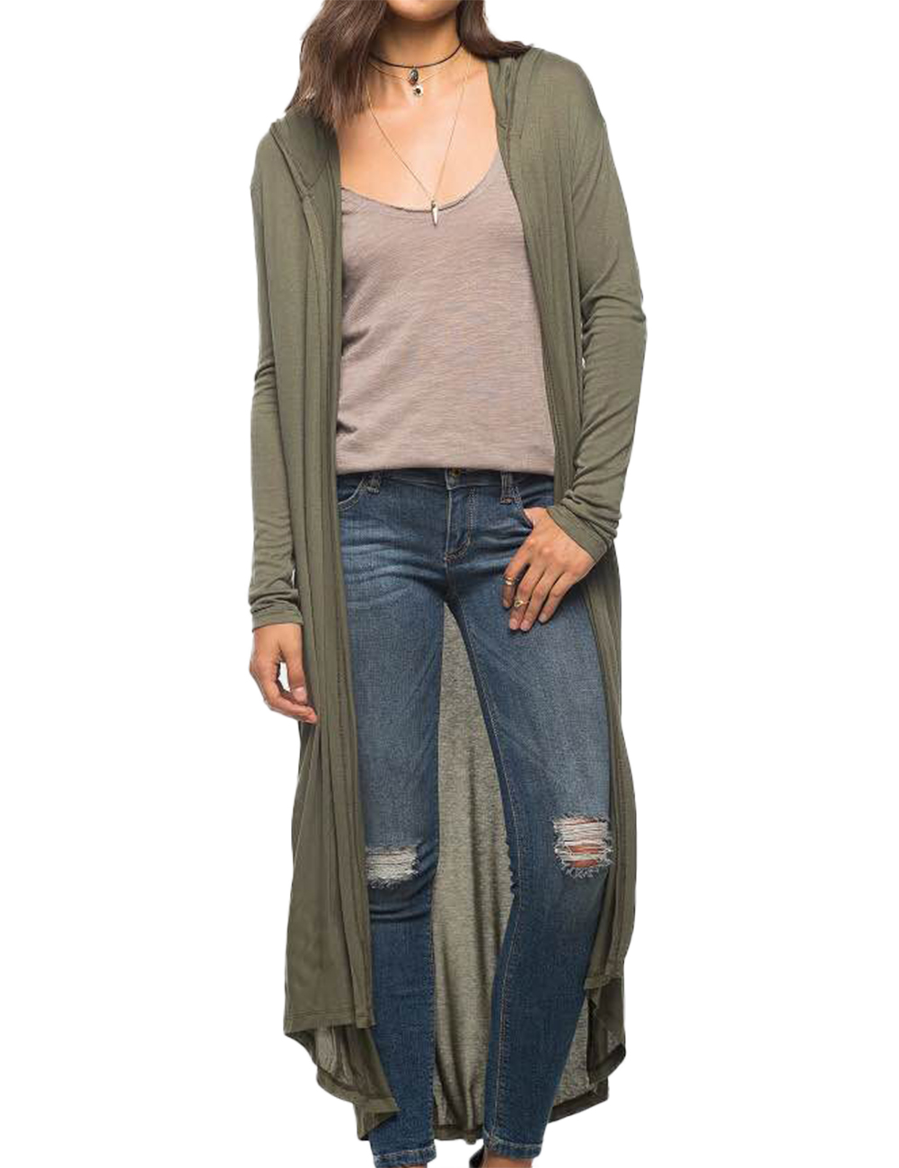 Womens Casual Long Sleeve Knit Cardigan Sweater Hooded ...