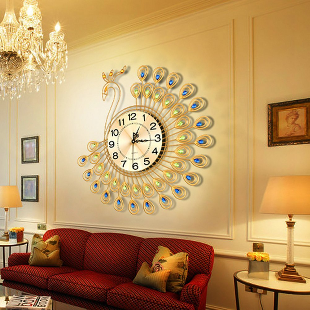 Usa creative metal gold peacock large wall clock living for Living room wall clocks
