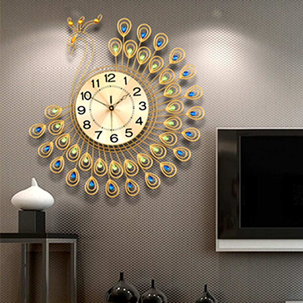 Large Wall Pictures For Living Room: USA Creative Metal Gold Peacock Large Wall Clock Living