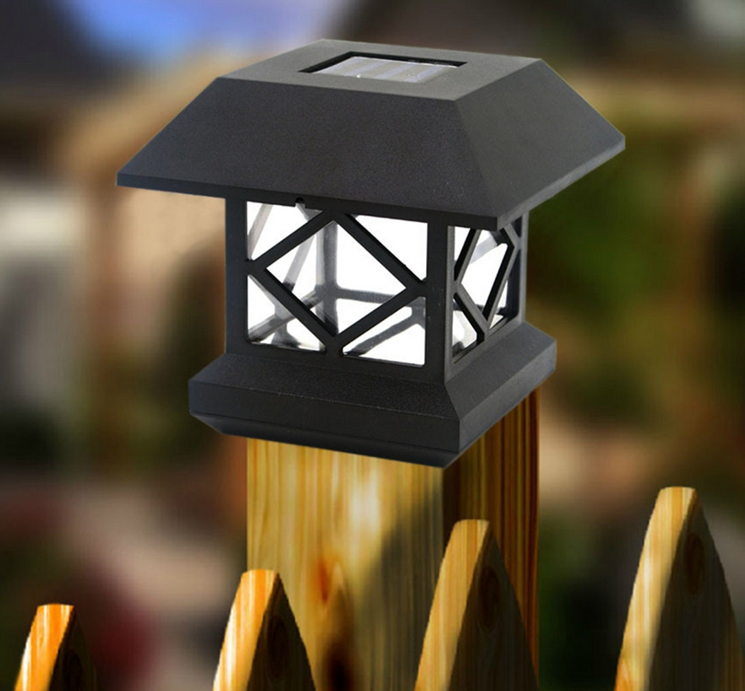 New outdoor solar power led wooden fence lights column
