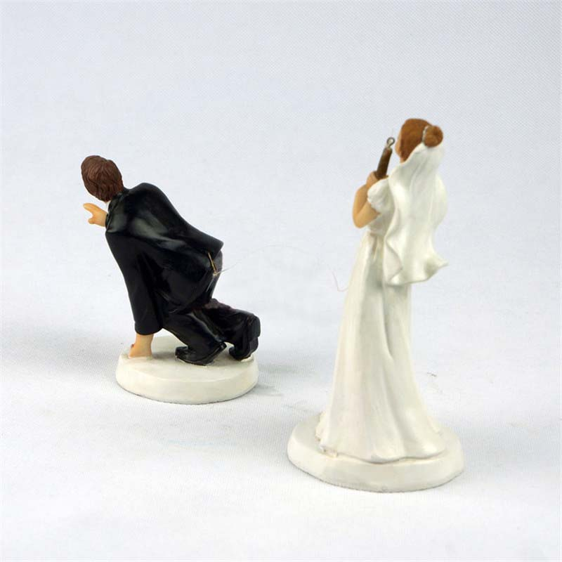 Wonderful Wedding Cake Topper Bride And Groom Funny Fishing Figurine Decoration