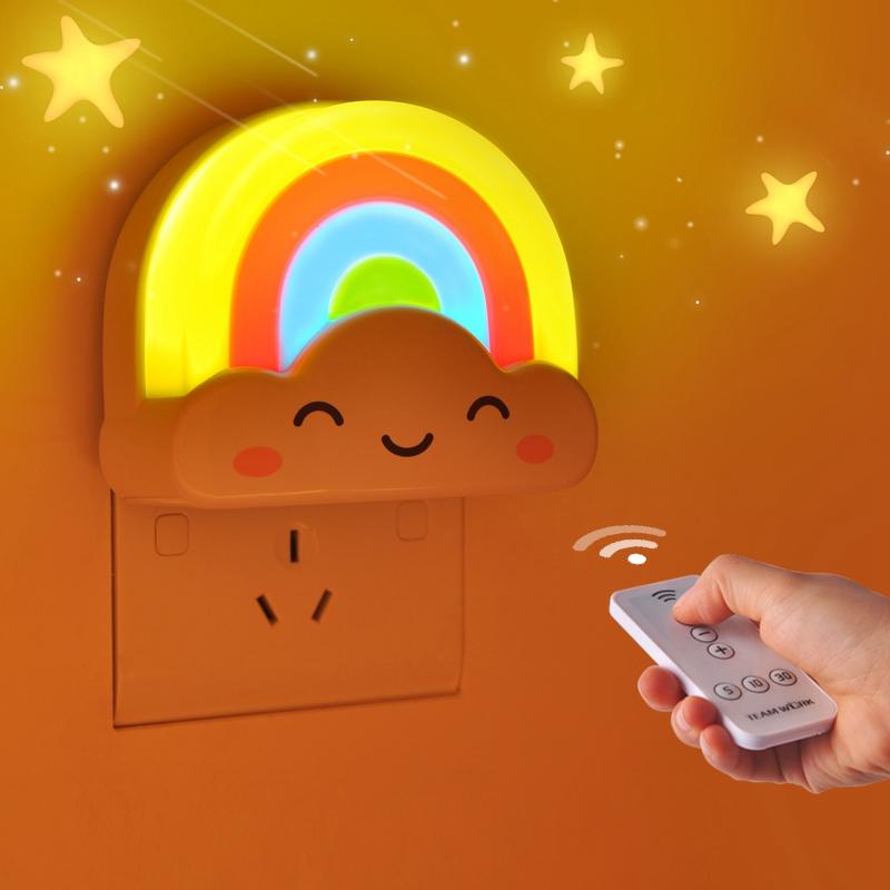 mini regenbogen led sensor nachtlicht fernbedienung f r. Black Bedroom Furniture Sets. Home Design Ideas