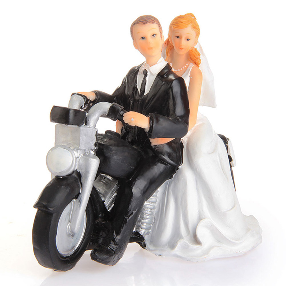 motorcycle couple wedding cake topper motorcycle get away wedding cake topper figurine 17606