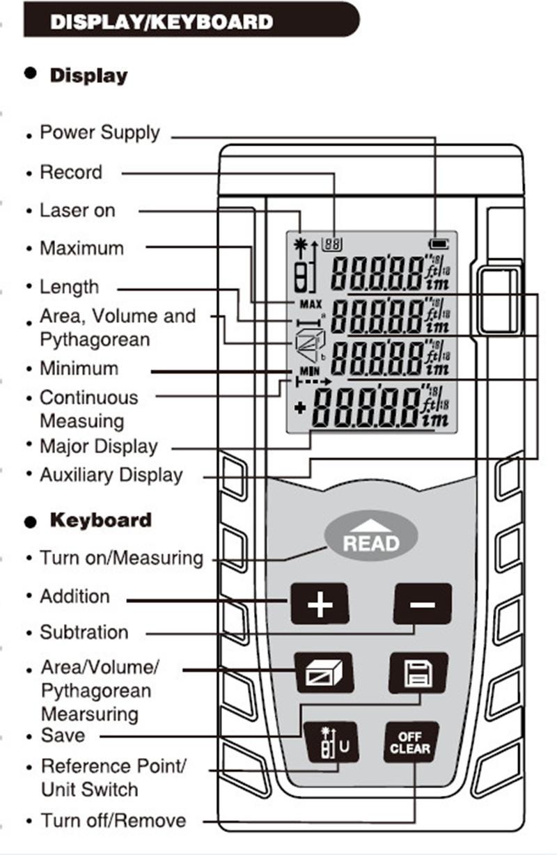 40m laser distance meter rangefinder range finder build measure device test tool