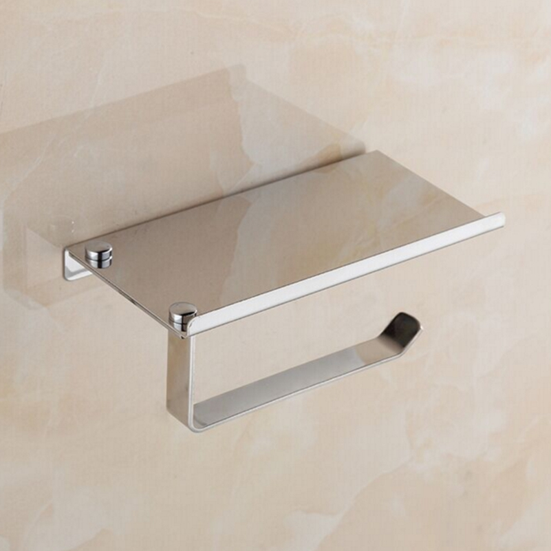 Usa new toilet paper holder wall mounted with phone holder 304 stainless steel ebay - Wall mount headphone holder ...