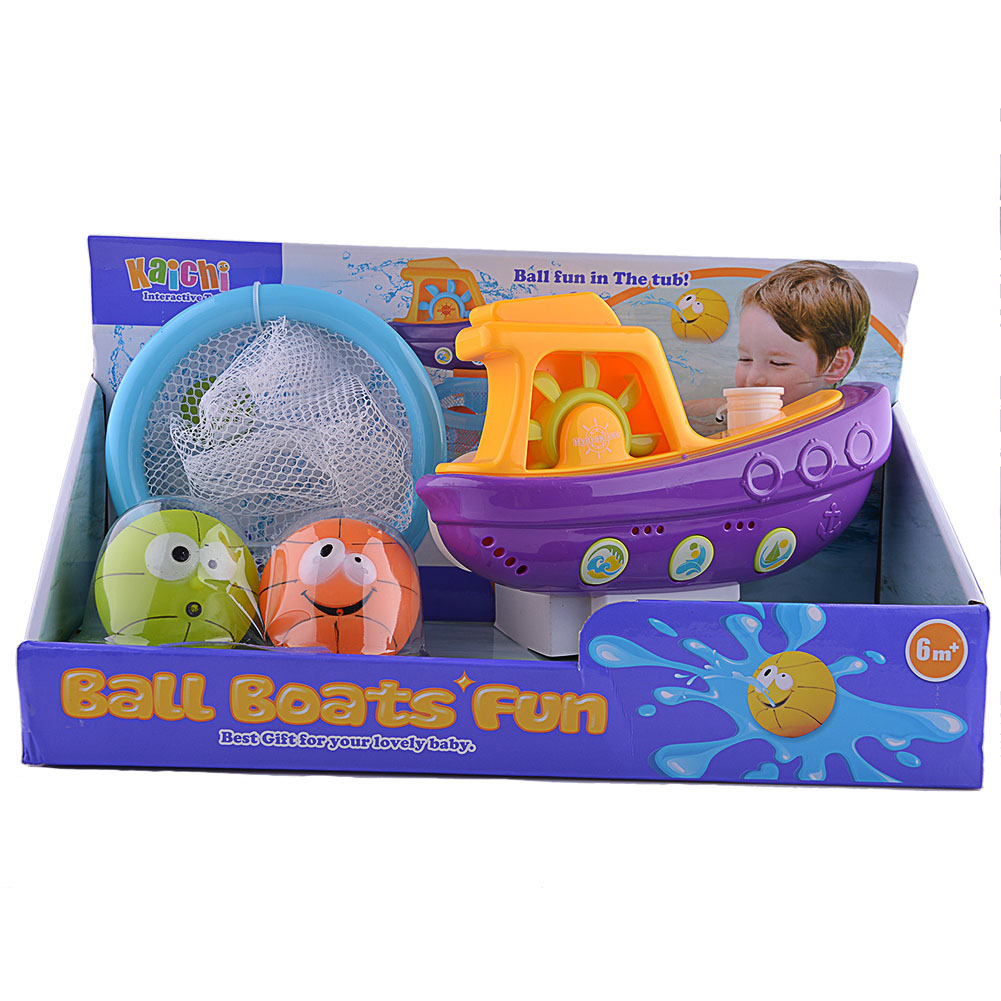Baby Bathtub Toys Balls Boat Bath Toys Set for Kids development Toy ...